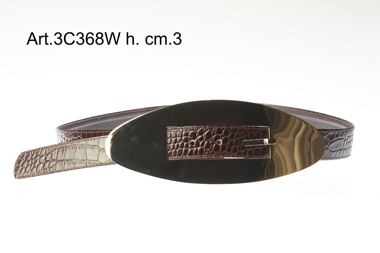 Leather belt with metal buckle h.cm.3 Item 3C368W Image
