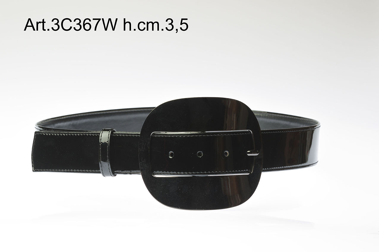 Leather Belt with metal buckle h. cm3,5 Item 3C367W Image